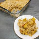 Минтай на овощной подушке с пряным соусом